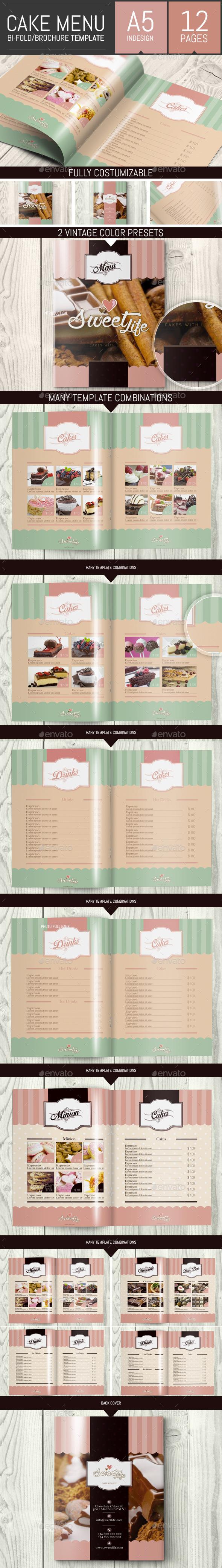 Vintage Cake Menu Brochure / Bi-fold Template - Food Menus Print Templates