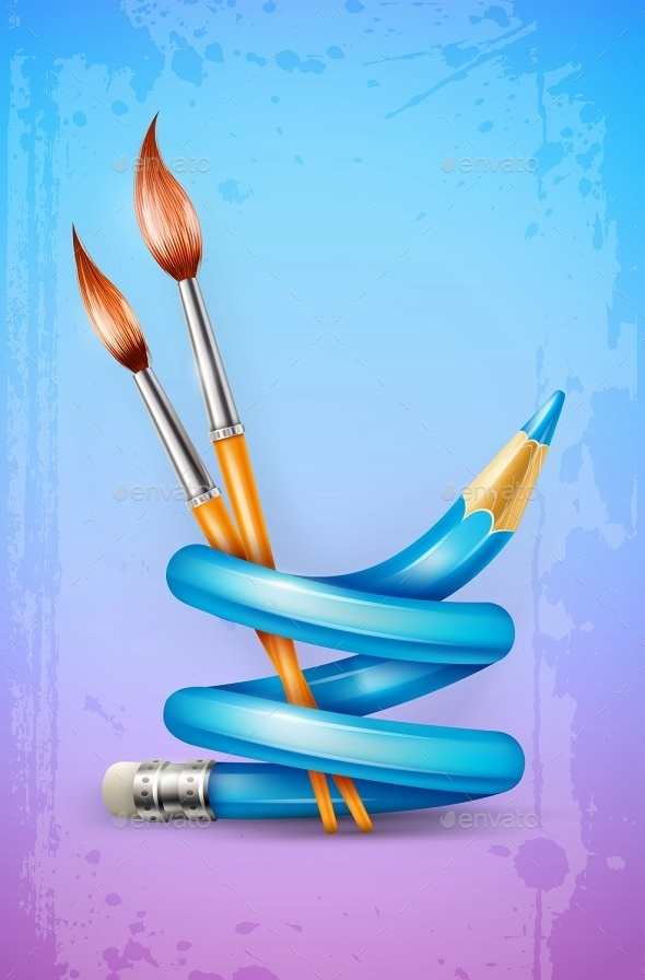 Creative Art Concept with Twisted Pencil - Miscellaneous Conceptual