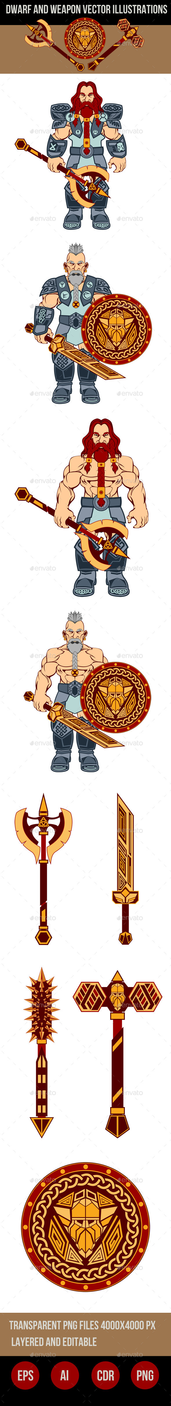 Dwarfs and Weapons Vector Illustrations - Characters Vectors