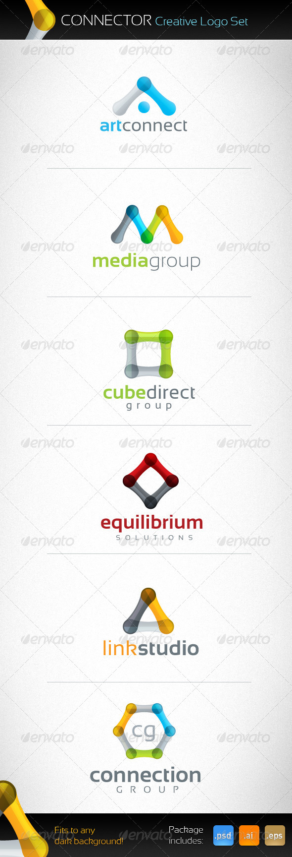 Connector Creative Logo Set - Abstract Logo Templates