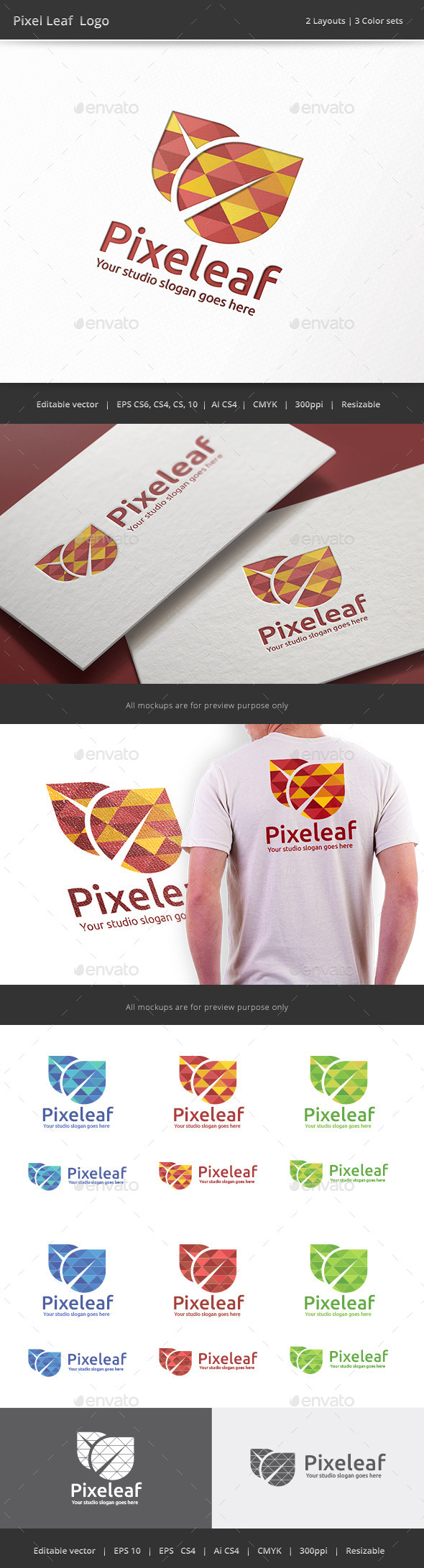 Pixel Leaf Logo - Vector Abstract