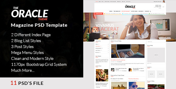 Magazine PSD Template - The Oracle - Corporate PSD Templates