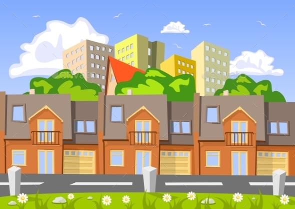 Colorful Abstract Vector City Row Building - Buildings Objects
