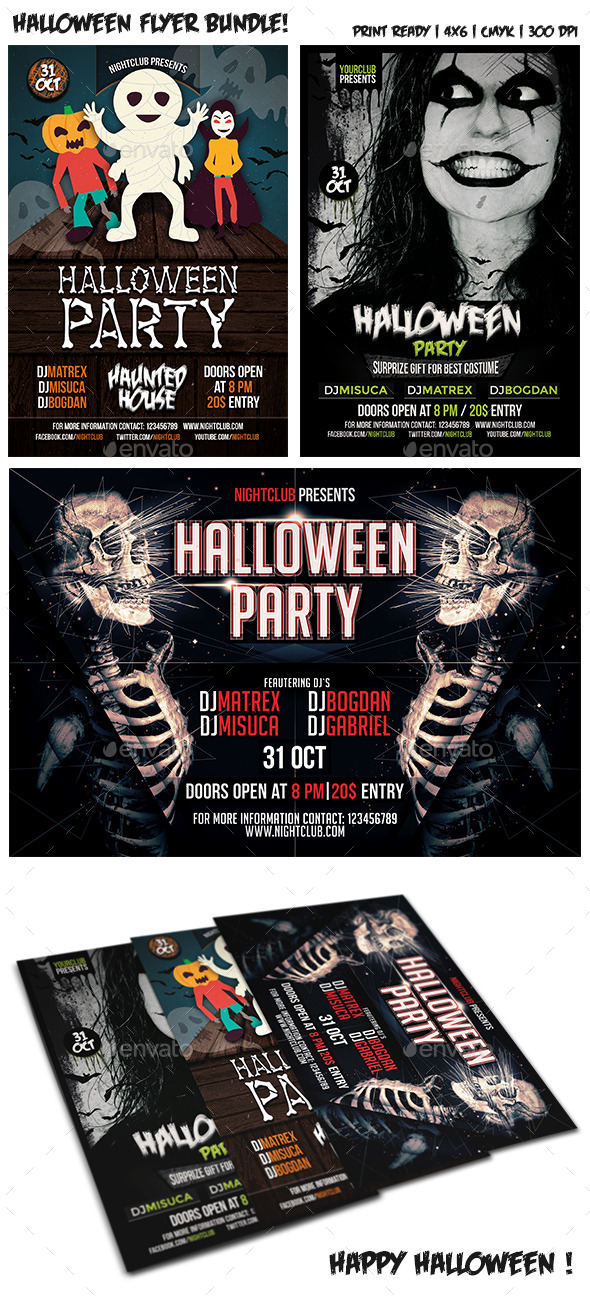 Halloween Party Flyer Bundle Vol. 3 - Clubs & Parties Events