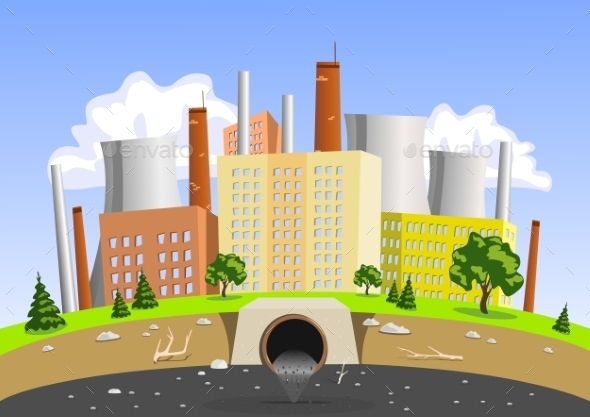 Factory Air and Water Pollution - Buildings Objects