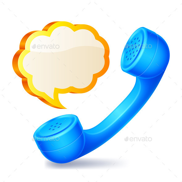 Handset and Speech Bubble - Communications Technology