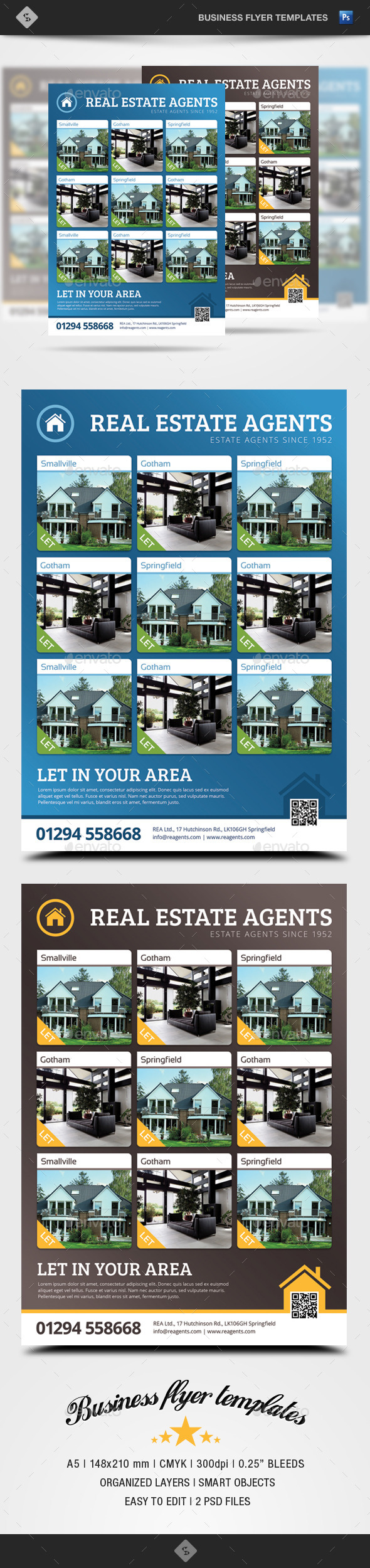 Real Estate Flyer Template - A5 - Corporate Flyers
