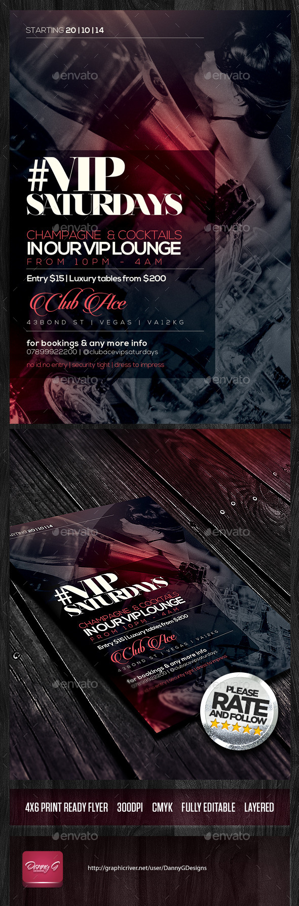 #VIP Saturdays Flyer Template PSD - Clubs & Parties Events