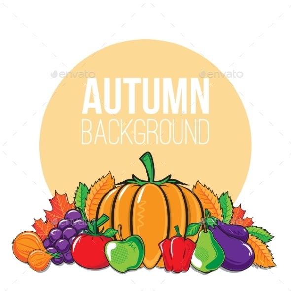 Autumn Background with Vegetables and Fruits - Backgrounds Decorative