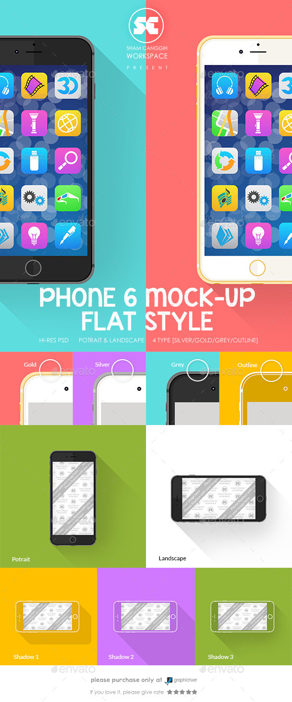 Phone 6 Mock-Up Flat Style - Miscellaneous Print