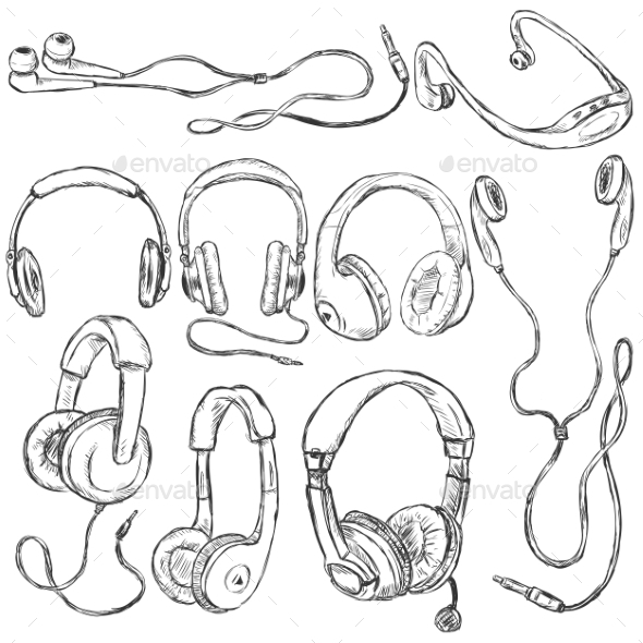 Vector Set of Sketch Headphones - Technology Conceptual