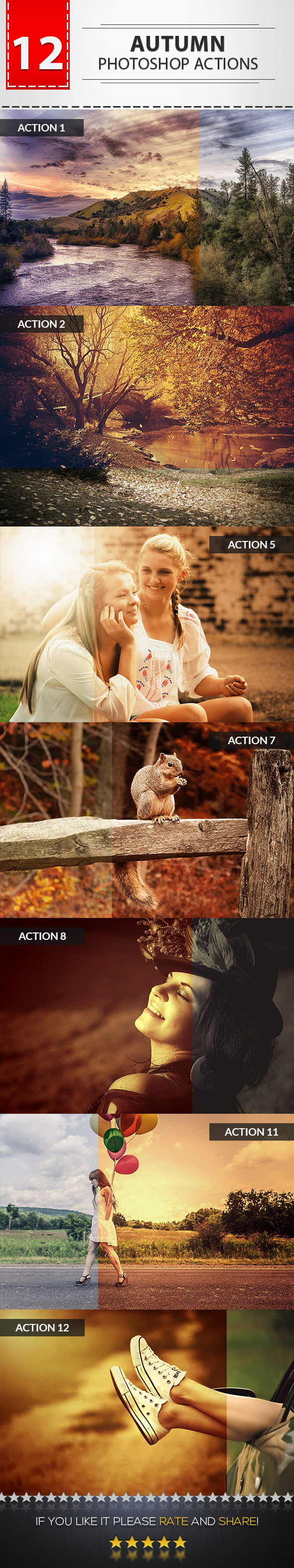 12 Autumn Photoshop Actions - Photo Effects Actions