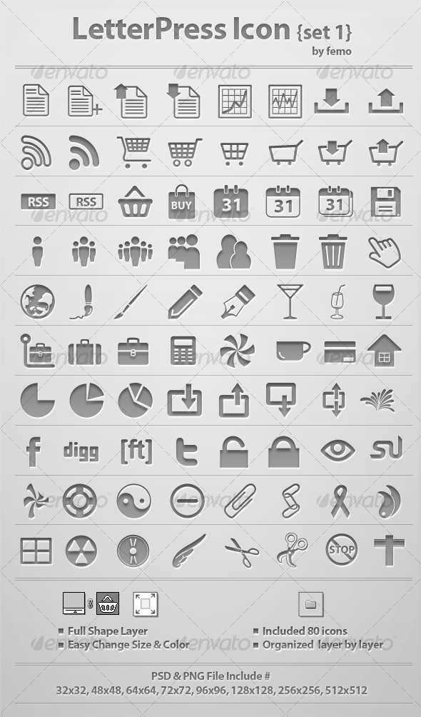 Letterpress Icon {Set 1} - Web Icons
