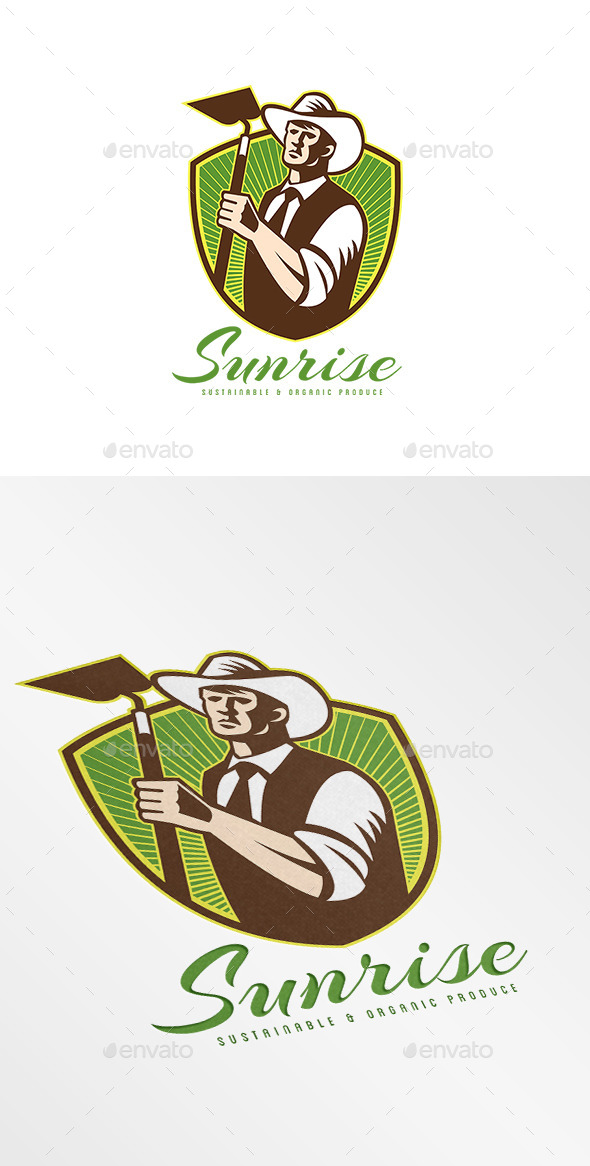 Sunrise Organic Farm Produce Logo - Humans Logo Templates