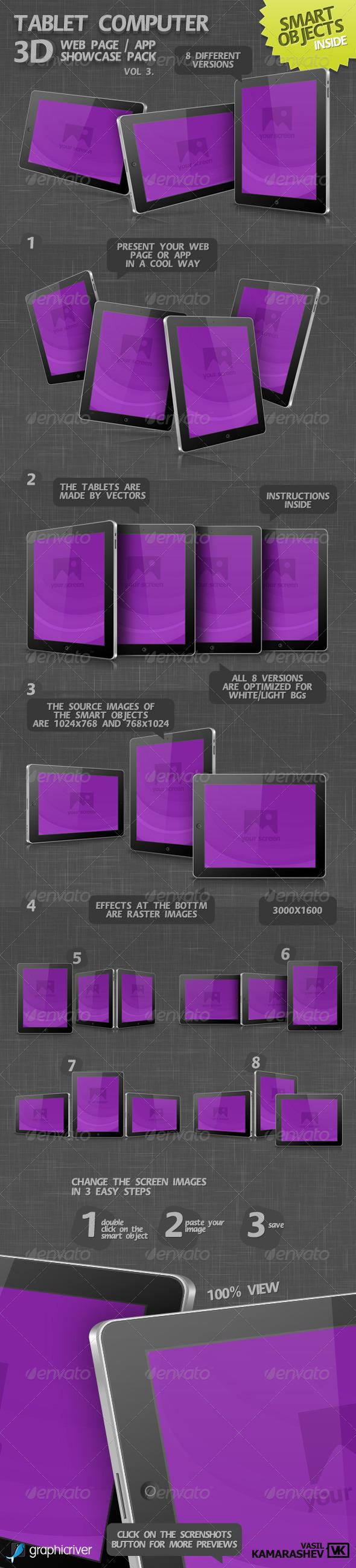 Tablet Computer 3D Web Page / App Showcase Vol.3 - Mobile Displays