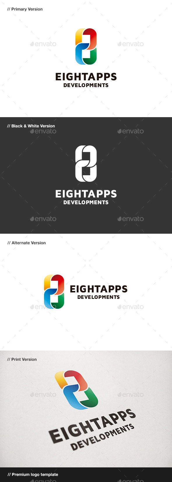 Eight Apps - Number 8 Logo - Numbers Logo Templates