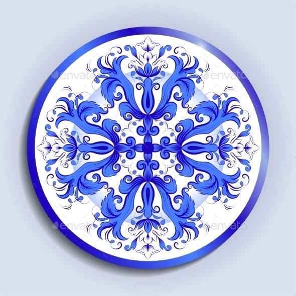 Vector Plate with Pattern - Decorative Symbols Decorative