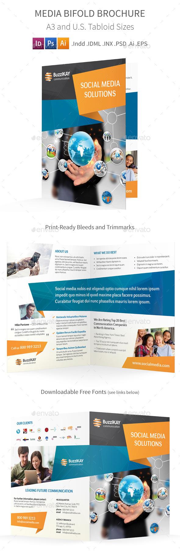 Media and Communication Bifold / Halffold Brochure - Informational Brochures