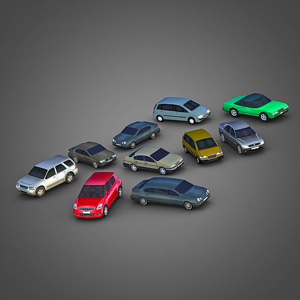 10 Low Poly City Cars Pack