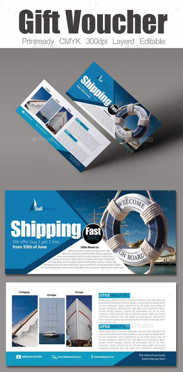 Freight & Boat Sailing Gift Voucher - Cards & Invites Print Templates