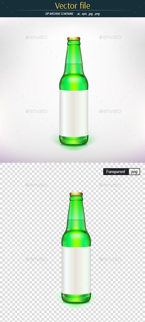Beer Bottle with Blank Label - Man-made Objects Objects