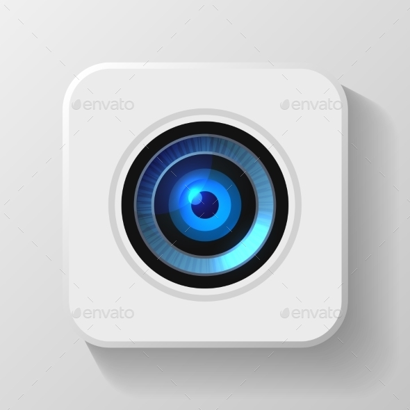 Blue Camera Lens Icon on White. Vector - Technology Conceptual