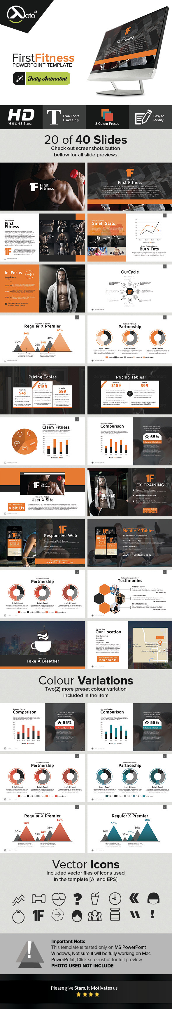 First Fitness Gym & Product Company Presentation - PowerPoint Templates Presentation Templates