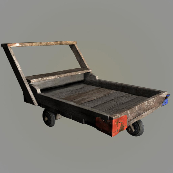 wood pushcart - 3DOcean Item for Sale
