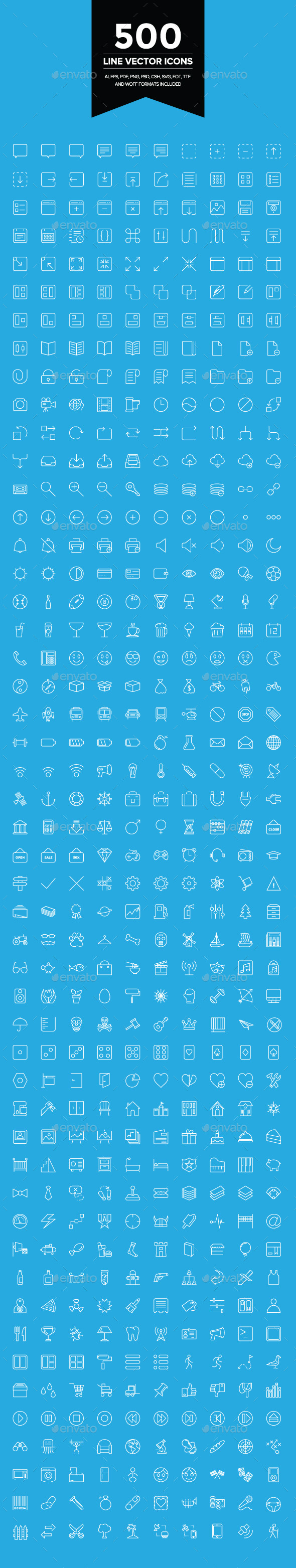 500 Line Vector Icons - Web Icons