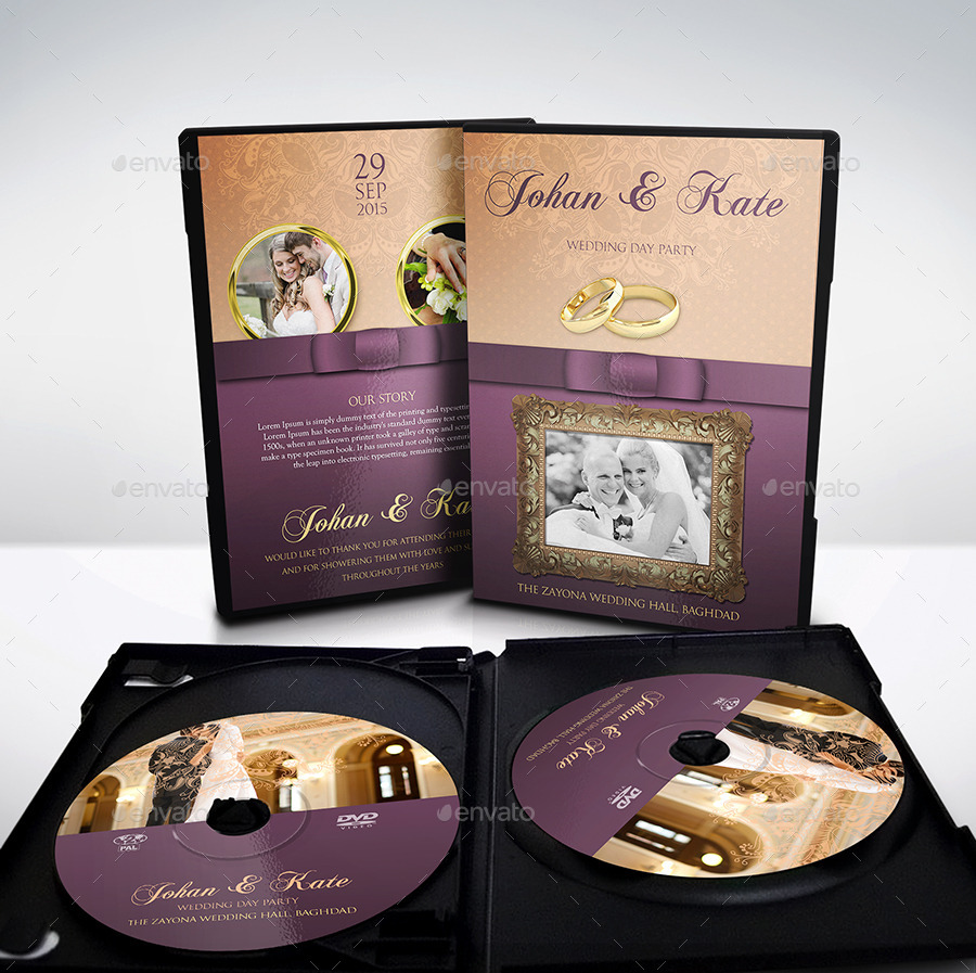 wedding dvd cover and dvd label template by owpictures