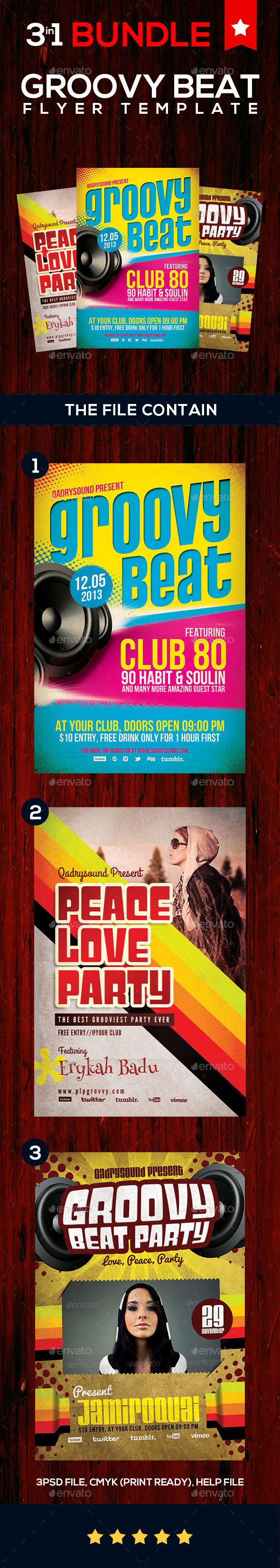 Groovy Beat Flyer BUNDLE - Clubs & Parties Events
