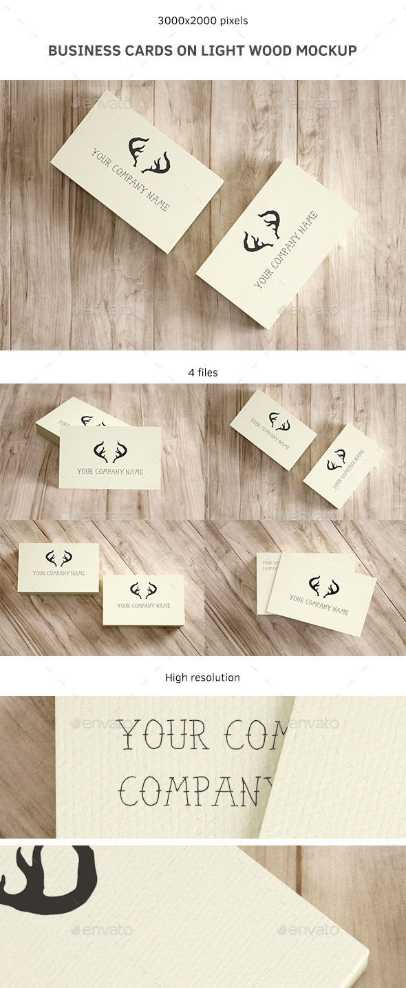 Business Cards on Light Wood Mockup - Business Cards Print
