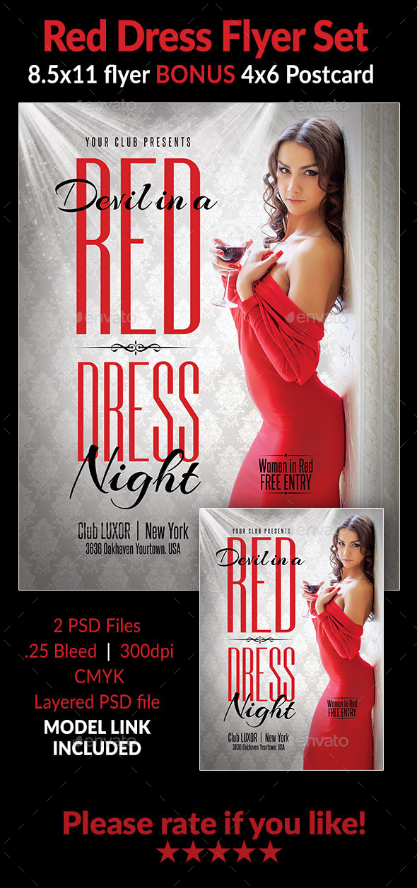 Red Dress Flyer Set - Clubs & Parties Events