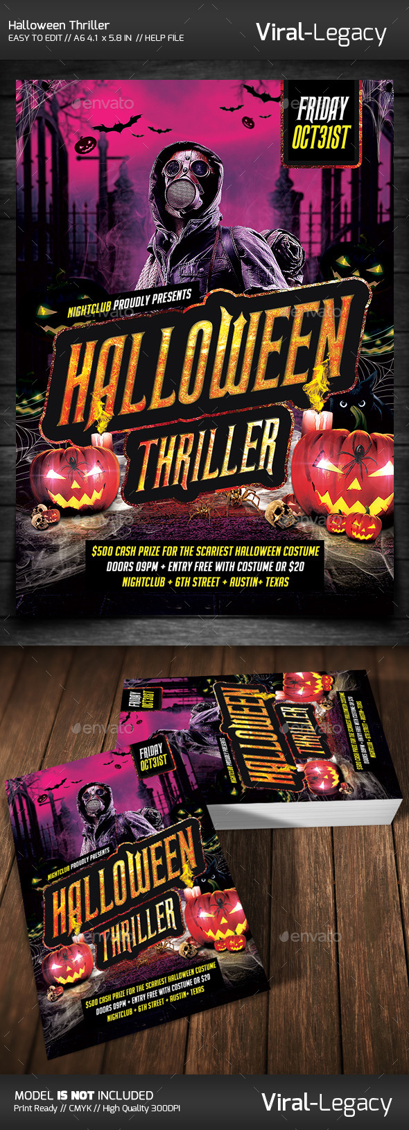 Halloween Thriller Party - Flyers Print Templates