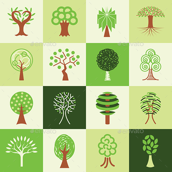 Tree Icons Set - Flowers & Plants Nature