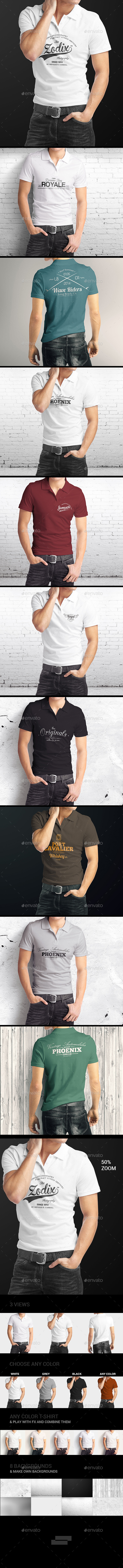 Man Polo Shirt Mock-Up - T-shirts Apparel