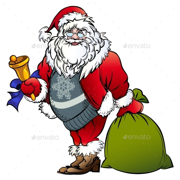 Santa Claus with a Bell and Bag - Christmas Seasons/Holidays