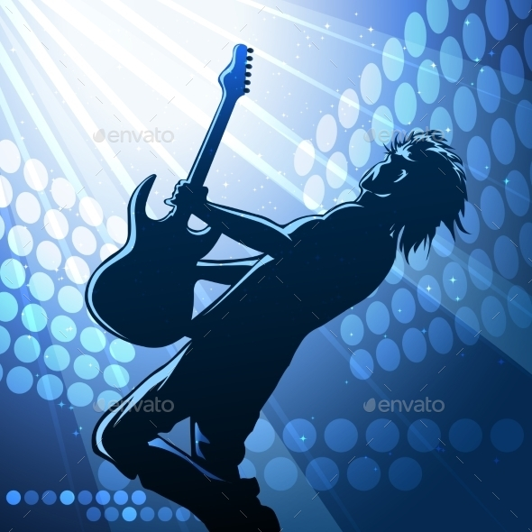 Rock Guitar Player on Stage - People Characters