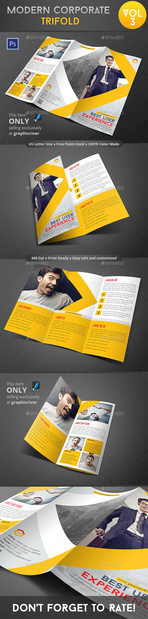 Modern Corporate Trifold Vol 3 - Corporate Brochures