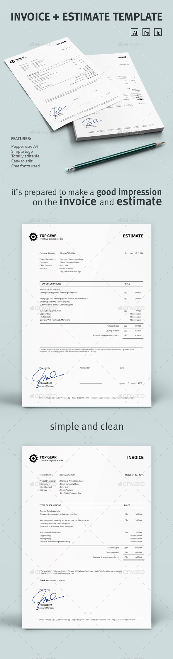 Invoice + Estimate Template - Proposals & Invoices Stationery