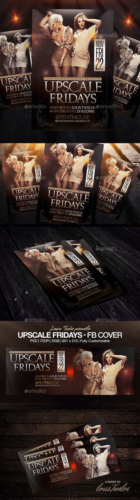 Upscale Fridays | Flyer + FB Cover - Clubs & Parties Events