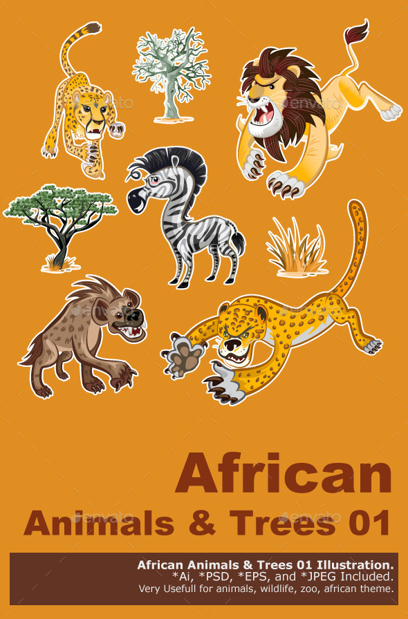 Africa Animals & Trees Collection Set 01 - Animals Characters