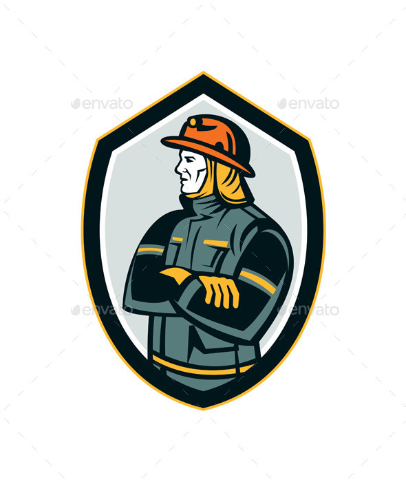Fireman Firefighter Arms Folded Shield Retro - People Characters