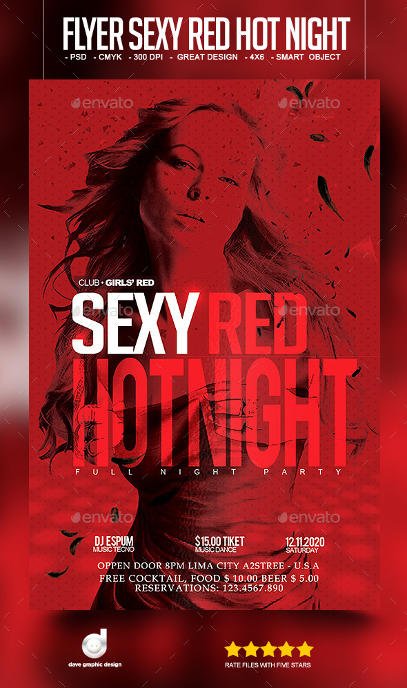 Flyer Sexy Red Hot Night - Clubs & Parties Events