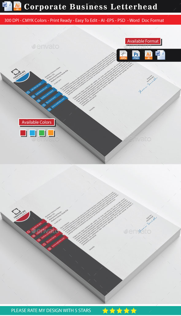 Creative Business Letterhead - Stationery Print Templates