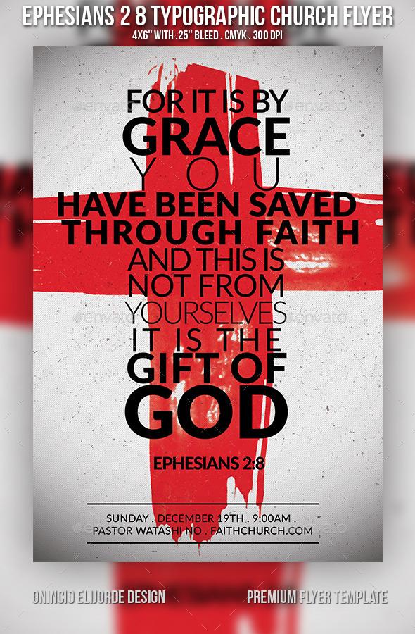 Ephesians 2 8 Church Flyer - Church Flyers