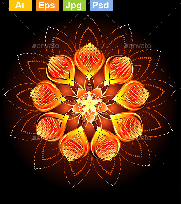 Abstract Orange Flower - Abstract Conceptual