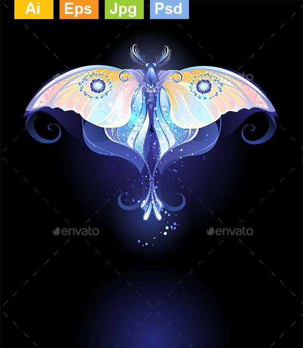 Glowing Butterfly - Decorative Vectors