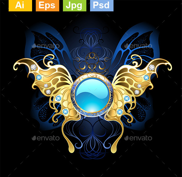 Banner with Gold Wings of a Butterfly - Decorative Symbols Decorative