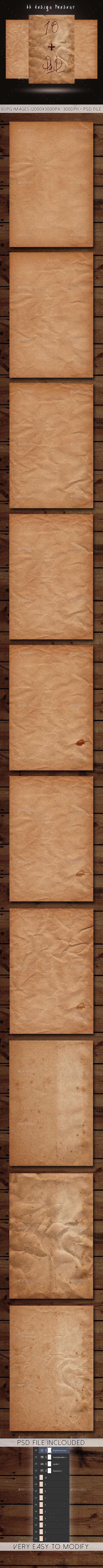 10 Old Paper Textures + PSD File - Paper Textures